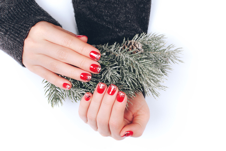 Beatiful Christmas manicure Archivio Fotografico
