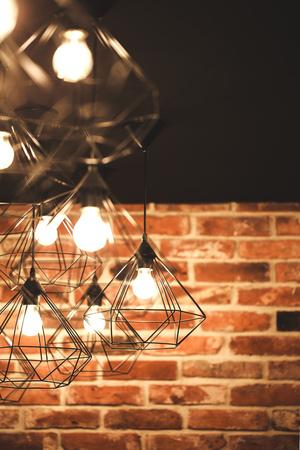 Geometry lamps in loft interior