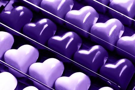 Boîte de coeurs en chocolat Banque d'images