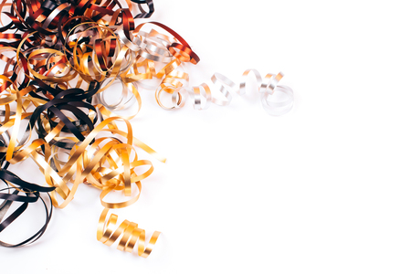 Many festive ribbons twisted on white background Stock Photo