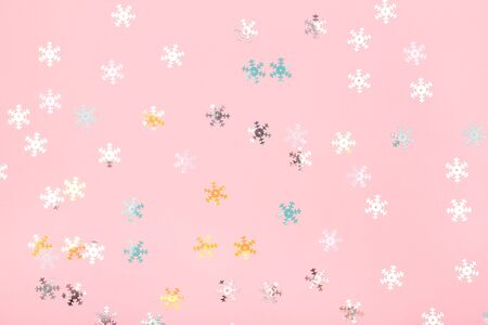 Creamy background with delicate holographic snowflakes. Perfect backdrop for your design.