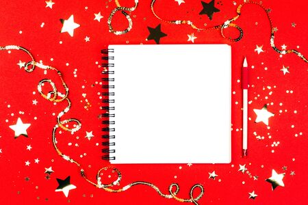 Notebook with page for goals and resolutions. Flat lay style, Фото со стока