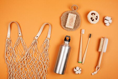 Zero waste living concept. Special objects on orange pastel background