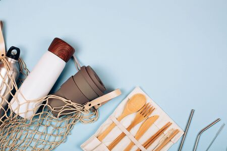 Group of zero waste products. Flat lay style.