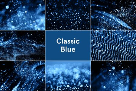 Collage with blue sparkles inspired by blue color of the year 2020