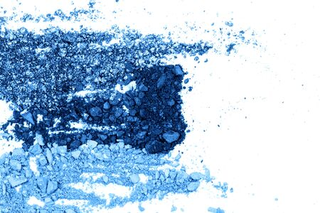 Blue eyeshadows with shimmer. Cosmetics concept. Flat lay style. Фото со стока