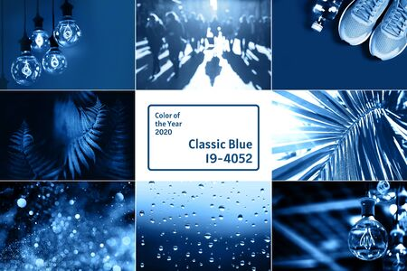 Creative collage with blue color, ispired by color of the year 2020. Фото со стока - 135464710