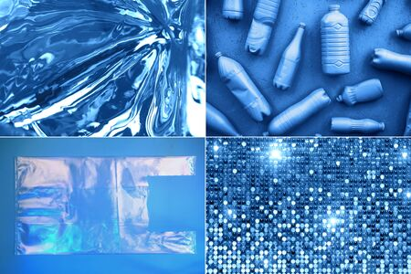 Creative collage with plastic in blue color, ispired by color of the year 2020. Фото со стока
