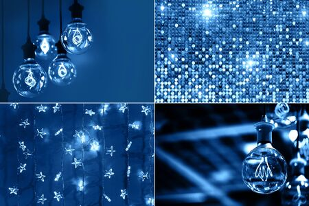 Creative collage with blue color, ispired by color of the year 2020.