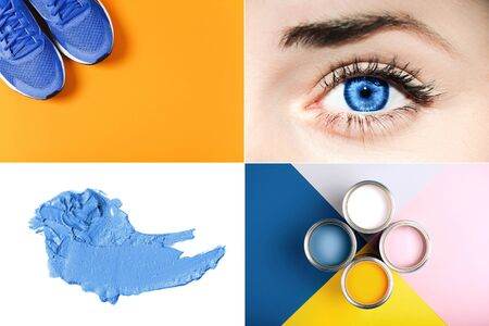 Creative collage with blue color, ispired by color of the year 2020. Фото со стока - 135464741