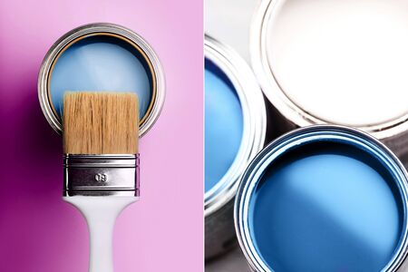 Creative collage with blue color, ispired by color of the year 2020. Фото со стока - 135464745