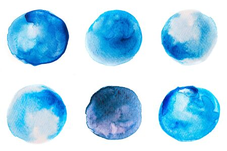 Beautiful blue watercolor circles, isolated on white. Perfect for your design.