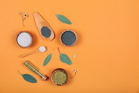 Home skin care. Several types of clay combined with eucalyptus leaves. Modern apothecary. Flat lay style.