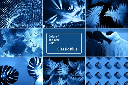 Creative collage inspired by blue color of the year 2020 Фото со стока