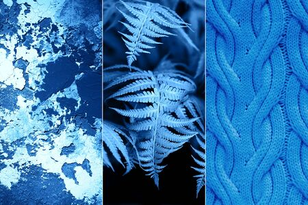 Creative collage inspired by blue color of the year 2020 Фото со стока - 135364722