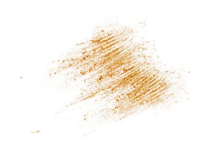 Brown crushed eyeshadows with shimmer. Cosmetics concept. Flat lay style. Standard-Bild
