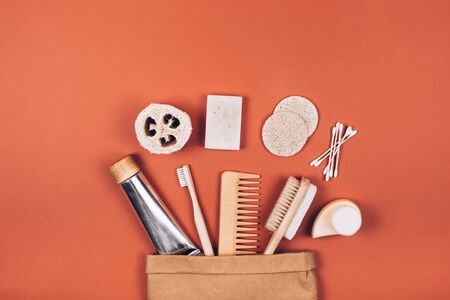 Zero waste cosmetics travel set. Flat lay style