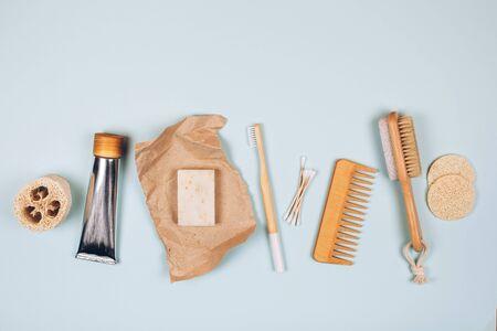 Zero waste cosmetics. Travel set. Flat lay style Фото со стока
