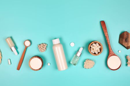 Different types of collagen. Powder, capsules, tablets and fluid.