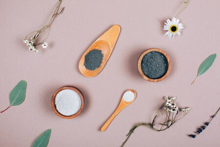 Natural cosmetics pattern with Eucalyptus on grey background as pattern. Flat lay style.