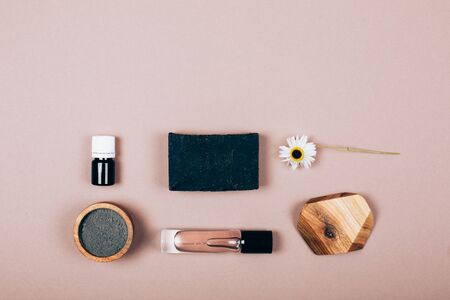 Cosmetics and bath accessories. Stylish monochrome composition. Flat lay style.