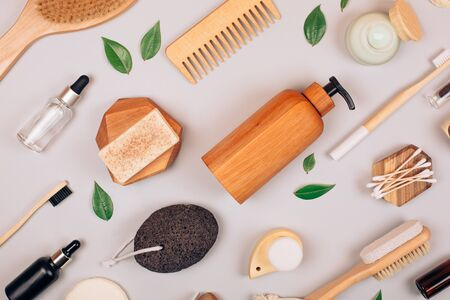 Zero waste self-care products. Flat lay style.