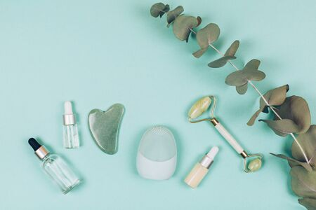 Facial massage kit. Face roller and gua sha massager made from natural stones.