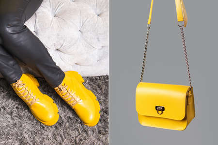 Demonstrating trendy colors 2021 - Gray and Yellow. Fashionable leather shoes and bag