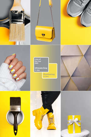 Collage demonstrating trendy colors 2021 - Gray and Yellow. Vertical edition for social media