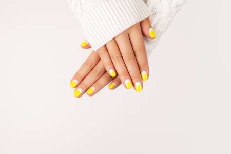 Perfect minimalistic manicure with geometry in trendy colors of year 2021.