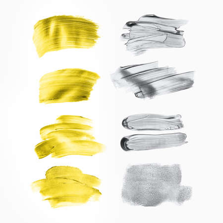Set of golden and grey paint strokes for your design. Isolated on white background. Each element can be used also like background for text.