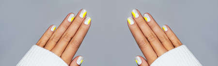 Banner made with perfect minimalistic manicure with geometry in trendy colors of year 2021.
