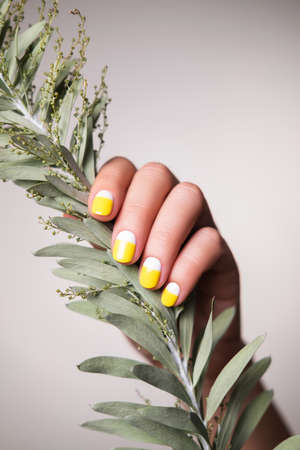 Perfect minimalistic manicure with geometry in trendy colors of the year
