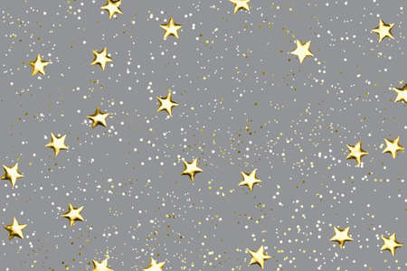 Gray background with shiny golden glitter on it. Dots, stars and little sparkles in flat lay stile. Festive concept.