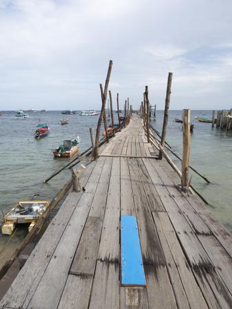 koh tao: wood bridge at koh tao, Thailand Stock Photo