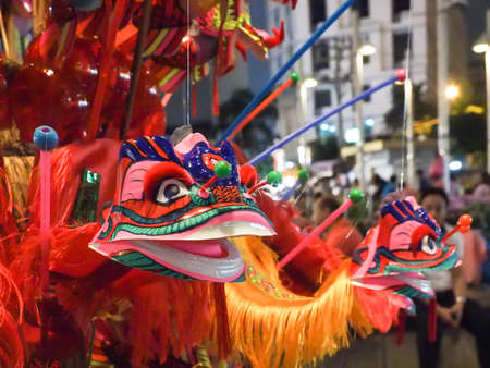 tradional: Bangkok, Thailand - November 25, 2015 : tradional chinese lion toy on loy krathong day