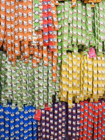 Prachuap Khiri Khan, Thailand - December 11, 2015 : Hello kitty Candy arrange in row at unidentifed shop