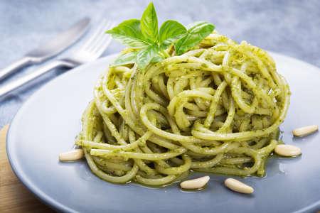 Spaghetti with pesto, genoese pesto, basil pesto.