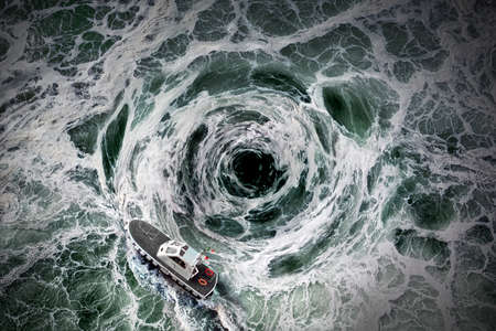 Small boat escape from the horrible whirlpool. Top view.