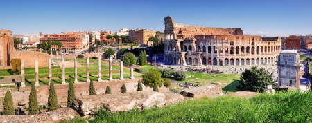 Panoramic view of Colosseum in Rome, Italy Banco de Imagens
