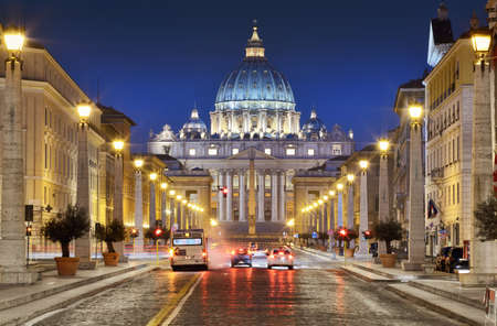 Via della Conciliazione and St. Peter's Basilica in the Vatican City, Rome, Italy.