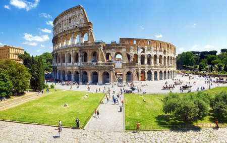 Panoramic view of the Colosseum and the homonymous square on a clear summer day, Rome, Italy, Europe .. Editorial