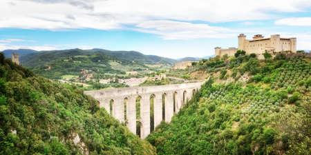 Rocca Albornoziana and Ponte delle Torri, Spoleto, Umbia, Italy, Europe.