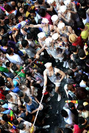 silom: Parade in songkran festival at silom road
