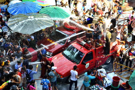 silom: Fire truck come and play songkran at silom road