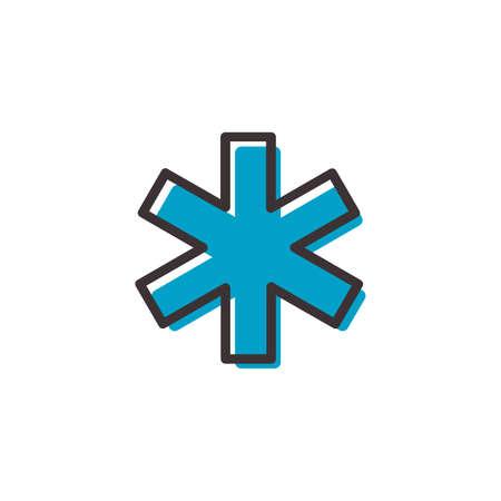 hospital ems icono de contorno plano sobre fondo transparente Ilustración de vector