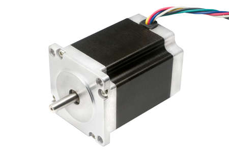 CNC drive stepping stepper motor with NEMA standard flange, used for driving axes of CNC machines like 3D printers and routers on white background with clipping path