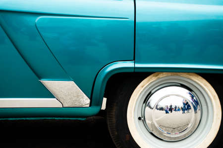 rear end: rear end of an old car