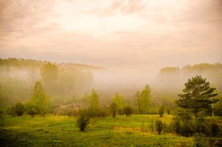 dense fog in the morning. early morning. Imagens