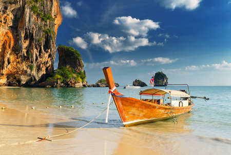 tranquil: Thai traditional boats on Railay Beach, Krabi.